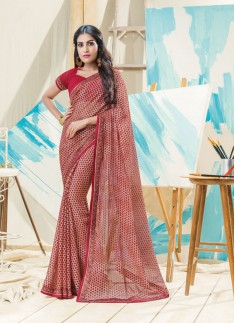 All Over print In Saree With Simple Lace Border