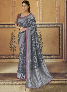 All Over Weaving In Saree With Heavy Work Blouse Piece