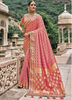 Attractive Bandhej Patola Pure Silk Saree With Hea