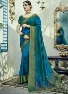 Attractive Color Combinathion Saree With Zari Work