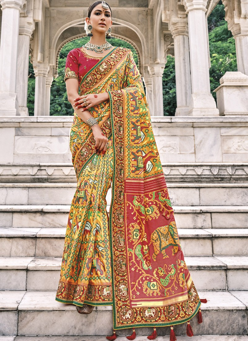 Attractive Patan Patola Pure Silk Saree With Heavy Work Blouse Piece