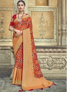 Attractive Patola Print Saree With Fancy Blouse Pi