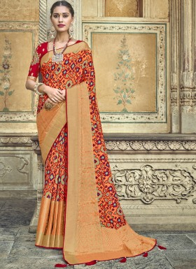 Attractive Patola Print Saree With Fancy Blouse Piece