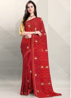 Attractive Saree With Contrast Designer Blouse Sareee