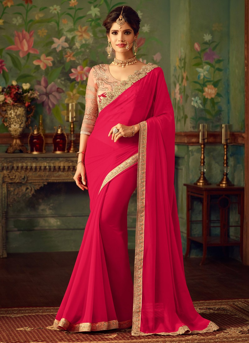1f828f5bf3f5a Attractive Shoulder Border Saree With Contrast Heavy Work Blouse