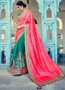 Auspicious Jacquard Hot Pink and Sea Green Zari Work Designer Half N Half Saree