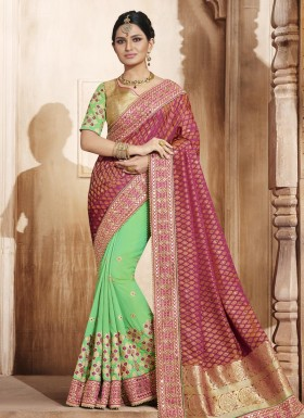 Auspicious Jacquard Silk Patch Border Work Half N Half Designer Saree