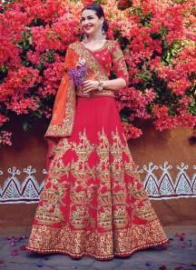 Auspicious Raw Silk Hot Pink A Line Lehenga Choli