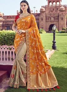 Banarasi Silk Material Saree With Heavy Work Blouse Piece