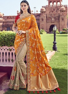 Banarasi Silk Material Saree With Heavy Work Blouse Piece