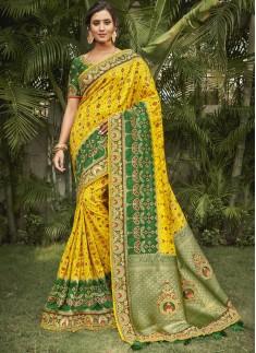 Banarasi Silk Saree With Decent Work Border And Contrast Heavy Work Blouse Piece
