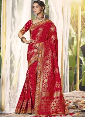 Banarasi Silk Saree With Decent Work Border And Heavy Work Blouse Piece