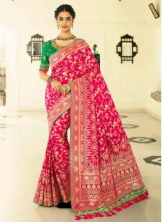 Banarasi Silk Saree With Zari Weaving And Contrast