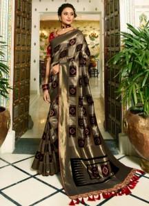 Banarasi Silk Saree With Zari Weaving And Contrast Heavy Blouse Piece