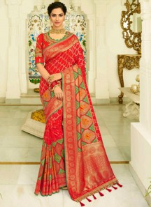 Banarasi Silk Saree With Zari Weaving And Heavy Work Blouse Piece