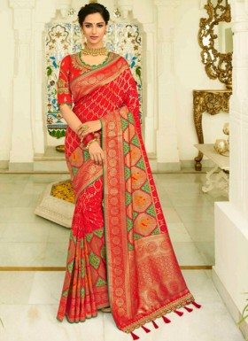 Banarasi Silk Saree With Zari Weaving And Heavy Work Blouse Piece