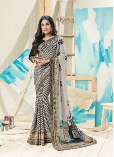 Beautiful Black And Grey Color Saree With Patli Pallu Style