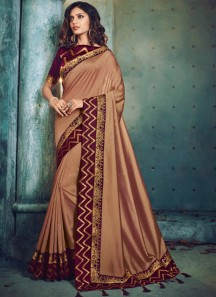 Beautiful Color Combination Saree With Contrast Blouse