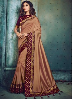 Beautiful Color Combination Saree With Contrast Bl