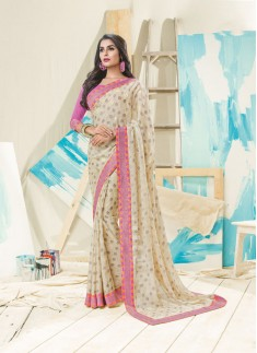 Beautiful Cream Color Saree With Contrast Border