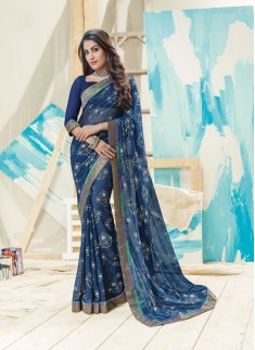 Beautiful Foil Print Saree In Nevy Blue Color