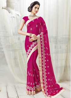 Beautiful Hot Pinc Color Saree With Fancy resham Work Design