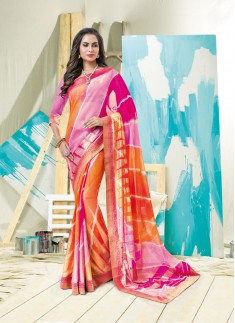 Beautiful Lehrya Print Saree With Multy Color
