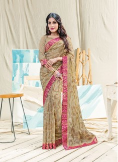 Beautiful Light Brown Color Saree With Contrast Border