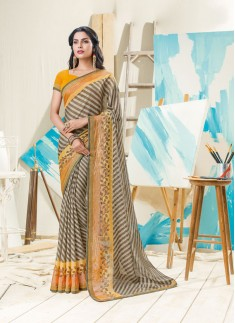 Beautiful Yellow Brown Combination Saree With Lehrya Print