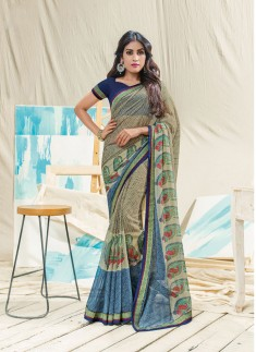 Bedge and Blue Color Skirt Border Saree With Contrast Blouse