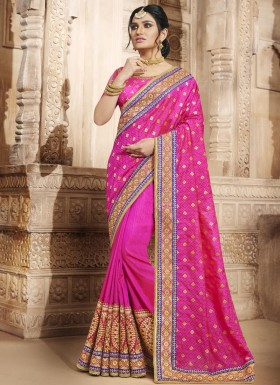 Best Hot Pink Patch Border Work Handloom silk Designer Traditional Saree