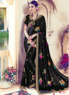 Blooming Patch Border Work Black Art Silk Designer Traditional Saree