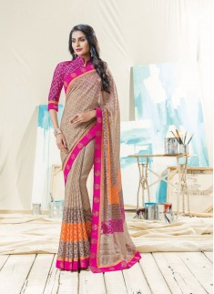Braso Material Saree With Brocade Blouse