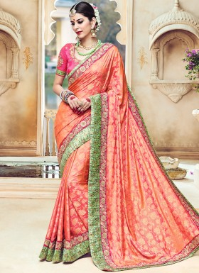 Captivating Art Silk Resham Work Traditional Designer Saree