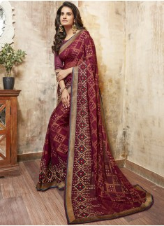 Classic Maroon Embroidaried Saree With Lace Broder