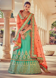 Classical Raw Silk Patch Border Work A Line Lehenga Choli