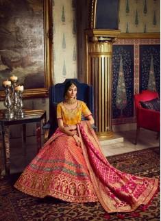 Classy Look Banarasi Silk Lehenga Choli With Contrast Dupatta With Small Work Border