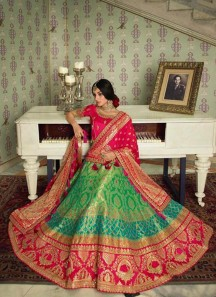 Classy Look Banarasi Silk Lehenga Choli With Contrast Dupatta With Small Work Border