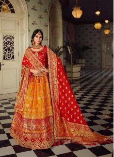 Classy Look Banarasi Silk Lehenga Choli With Contr