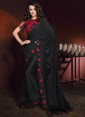 Classy Look Black Saree With Contrast Heavy Work Blouse Piece