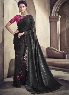 Classy Look Black Saree With Cut Work Border And Heavy Work Blouse Piece