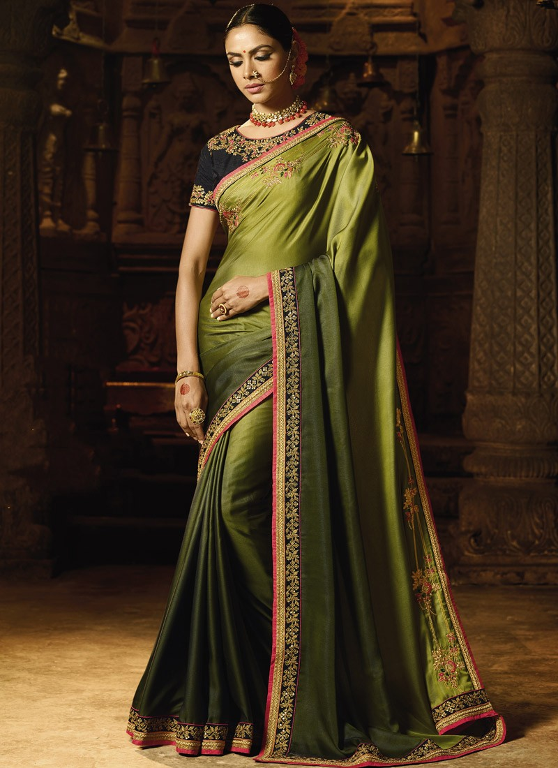Classy Look Plane Saree With Contrast Heavy Work Blouse