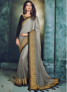 Classy look Saree With Contrast Blouse Piece
