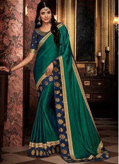 Classy Look Saree With Contrast Heavy Blouse Piece