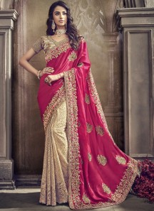 Classy Look Saree With Half Half Style And Contrast Heavy Work Blouse Piece