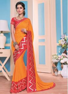 Classy orange and red contemporary Designer saree