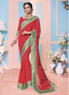 Classy red color and contemporary Designer saree