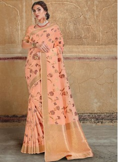 Classy Silk Saree With Jari Weaving And Heavy Work Blouse Piece