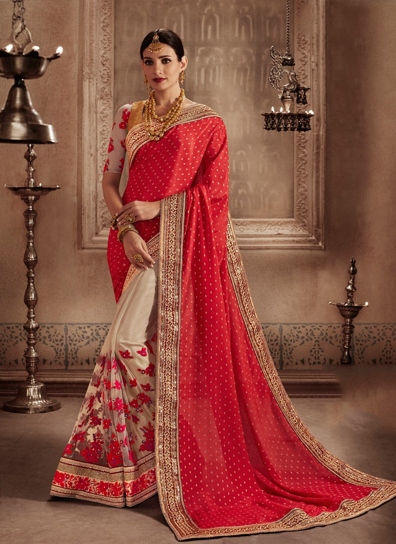 a1118089bc Compelling Beige and Red Embroidered Work Net Designer Half N Half Saree