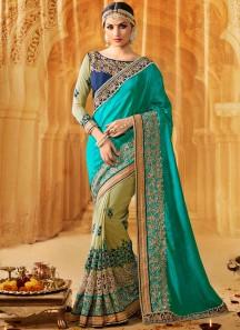 Congenial Art Silk Designer Half N Half Saree